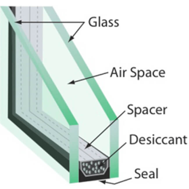 double low e glass  heat reflective insulating glass