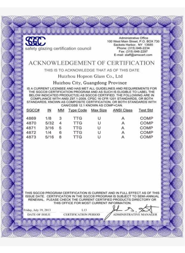 SGCC-Safety Glazing Certification