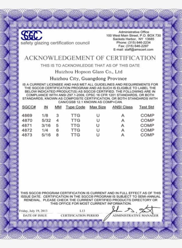 SGCC-Safety Glazing Certification