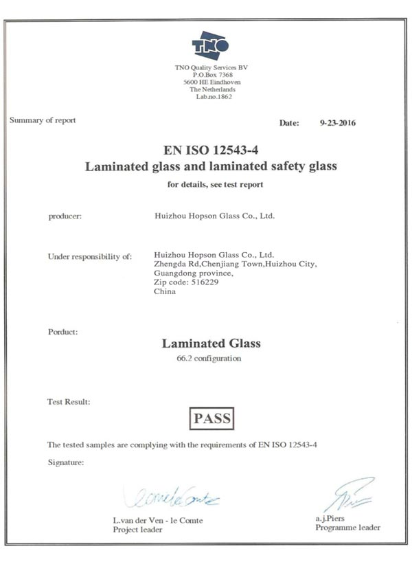 EN-ISO12543-4 Laminated Glass and Laminated Safety Glass
