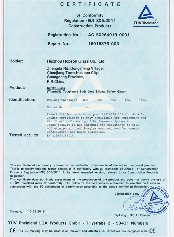 CE-EN12150-Safety Glass Certification