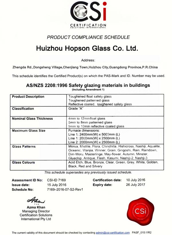 Toughened Glass Australia Certification