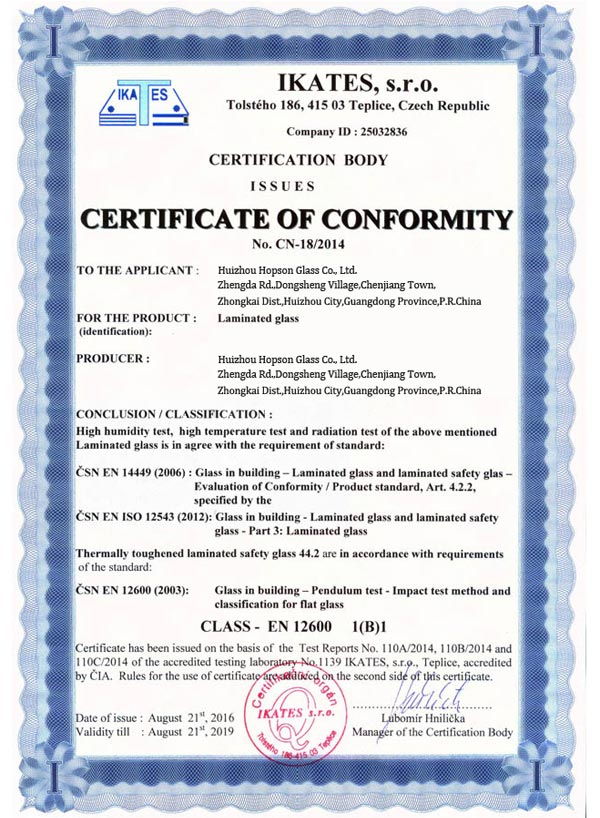 Laminated Glass CE Certification