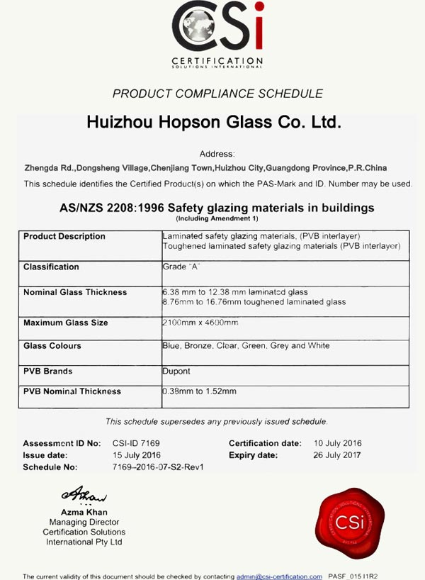 Laminated Glass Australia Certification