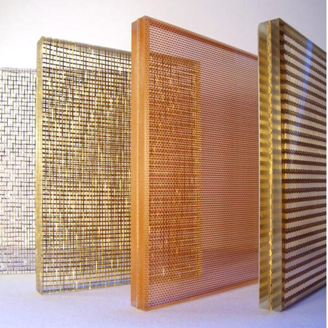Fabric mesh laminated glass for interior decoration