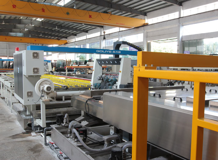 automatic glass edging and polishing and washing production line.