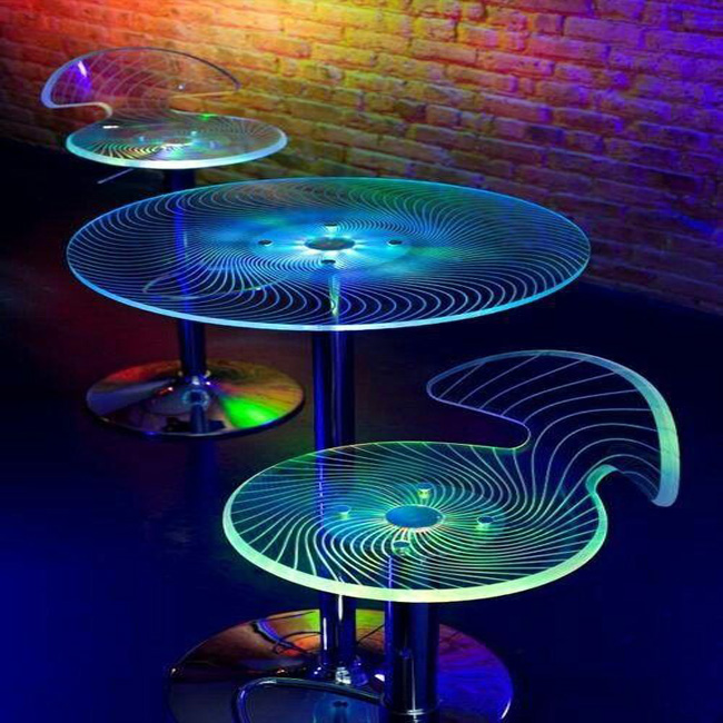 LED light round tempered glass coffee table top